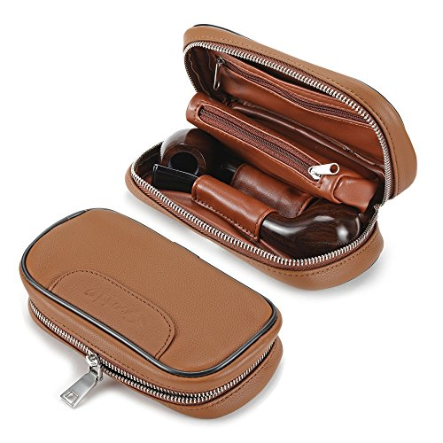 Ylyycc leather pipe tobacco pouch case with 2 pipe holder pocket brown (Tobacco Holder)