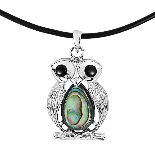 Exotic Owl .925 Sterling Silver & Abalone Shell Black Rubber Pendant Necklace