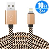 iphone 5 cords cheap - iPhone 10ft/3m Lightning Cable, CC-Show Nylon Braided 8pin charging cable Sync Strongest USB 2.0 Charge cord for iPhone X/8/7/Plus/6/6s/SE/5/5s/5c/iPad/iPod, Compatible with More Apple Devices (Gold)