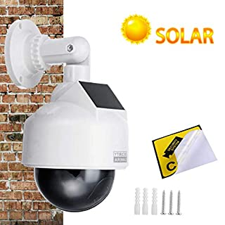 YSUCAU Solar Powered Dummy Fake CCTV Security Dome Camera with Flashing Red LED Light & Warning Security Alert Sticker Decal, Indoor/Outdoor Use
