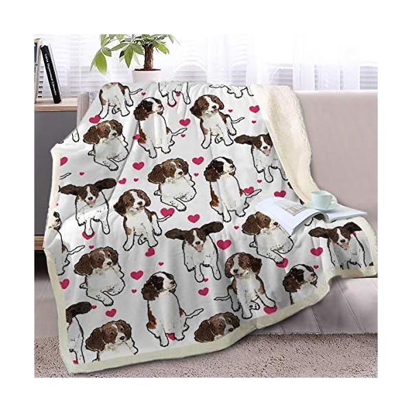 "Acott Cartoon Pet Reversible Blanket Soft Sherpa Blanket Throw Blanket Puppy with Red Heart Design Fleece Blanket (English Springer Spaniel, 50 X 60 Inches) 60"" X 80"" 1"