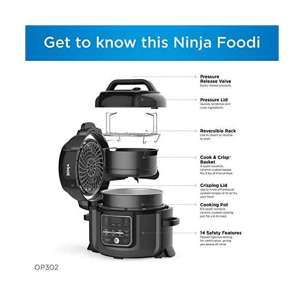Ninja OP302 Foodi 9-in-1 Pressure, Broil, Dehydrate, Slow Cooker, Air Fryer, and More, with 6.5 Quart Capacity and 45… 3