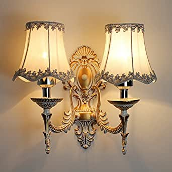 European Resin Carved Fabric Lampshade Bedroom Wall Light ...
