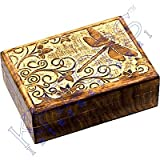 The New Age Source Carved Wood Box with Linning Dragonfly Each
