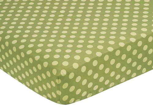 Sweet Jojo Designs Forest Friends Fitted Crib Sheet for Baby/Toddler Bedding Sets - - Tonal Green Dots ()