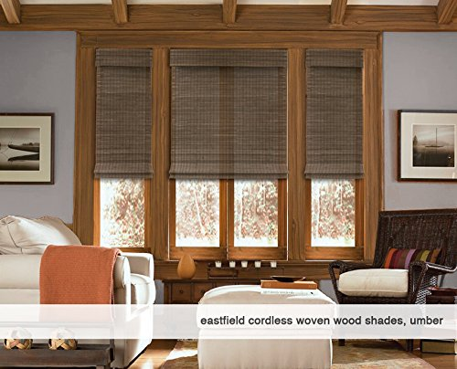 Cordless Woven Wood Roman Shades, 35W x 36H, Hatteras Camel, Any Size 20-72 Wide and 24-72 High