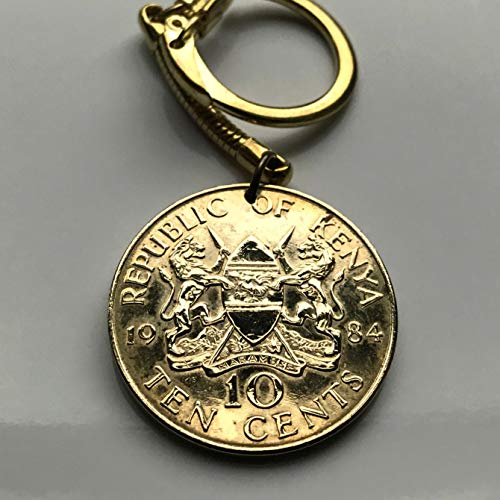 1984 Kenya 10 Cents coin pendant Kenyan lions Nairobi East Africa Kikuyu Luhya Luo Kiswahili Great Rift Valley Lamu safari spears n001583