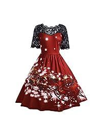 Women's Short Sleeve Christmas 3D Print Lace Party Swing Dress Plus Size