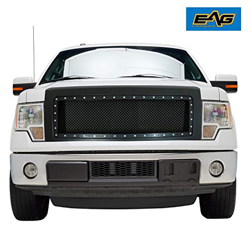 - EAG Replacement Upper Grille Matte Black Mesh Front Grill Fit for 09-14 Ford F-150