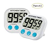 2pcs Digital Kitchen Timer with Premium Magnetic Backing for Cooking, Baking and More (LCD Display, Loud Alarm, Countdown)
