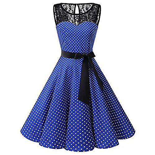 Falda Cintura Primavera Alta Vintage Verano Columpio Azul Plisado Casual Mujer Encaje Péndulo Moda Grande Sin Mangas Vestido Y Hepburn Vjgoal Lunares OwqH5vg4q
