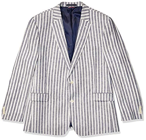 Tommy Hilfiger Men's Big and Tall Modern Fit Stretch Comfort Blazer, Blue Regatta Stripe, 46R