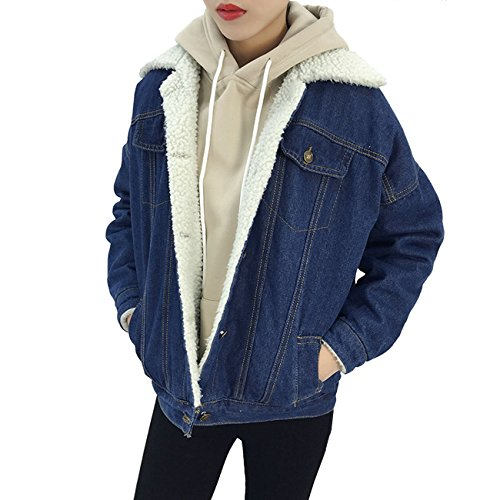 MorySong Women's Warm Button Down Long Denim Coat Outfit Classy Quilted Jeans Outerwear L Denim Blue (Sherpa Denim)