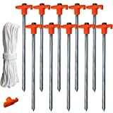 ABCCANOPY Tent Stake Pegs Garden Stakes, 10pcs Galvanized Non-Rust 10'' Pop up Pergolas Canopy Accessories Gazebo Accessories Peg Stakes Orange Stopper Bonus 4pcs 10ft Ropes & 1 PVC top