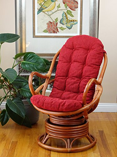 Lounge Swivel Rocking Rattan Wicker Java Chair w/Burgundy Cushion, Colonial Color (Swivel Chair Cushions)