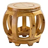 Frisby Decorative Hardwood Birch Footstool Water Resistant Multipurpose Durable Sturdy Non-Slip Surface and Feet Wooden Round Step Stool for Living/Bedroom Patio, Light and Dark Available, Light Wood