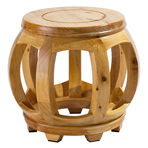Wooden Step Kitchen Stool (Frisby Decorative Hardwood Birch Footstool Water Resistant Multipurpose Durable Sturdy Non-Slip Surface and Feet Wooden Round Step Stool for Living/Bedroom Patio, Light and Dark Available, Light Wood)