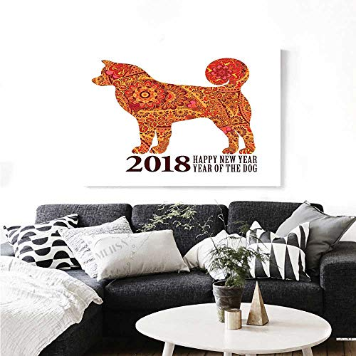 Year of The Dog Canvas Wall Art Canine Design with Blooming Flowers and Hearts 2018 Festive Asian Calendar Print Paintings for Home Wall Office Decor 24