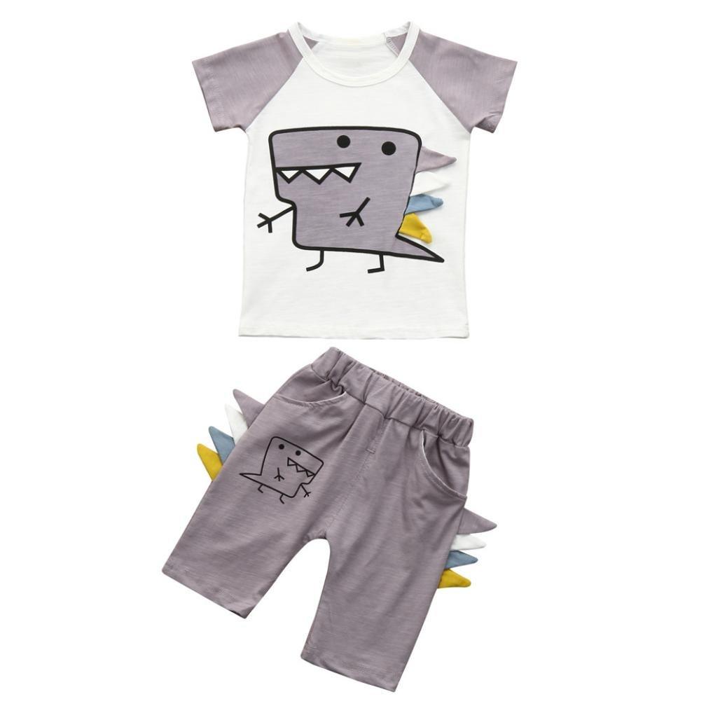 Pantaloncini Abiti Set Jimmackey 2pc Bambino Ragazzi Camicia Stampa Dinosauro T Shirt Cime