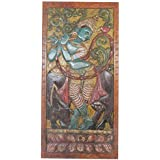Vintage Fluting Krishna with Cow Hand carved Vintage Wall Panel , Spiritual Coffee table Top, Barn door, Wall hanging