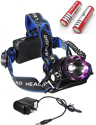 Bright Modern 3-Mode LED 2000 Lumens Headlamp Rechargeable Adjust Headband Bike Flashlight Color Black with Battery Charger