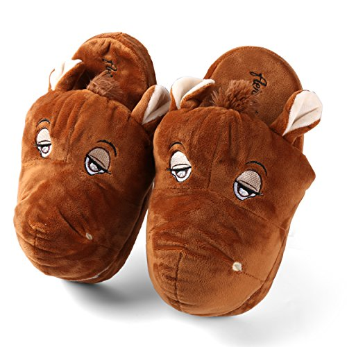Aerusi Sec20400l Pluche Pantoffels Voor Heren Of Dames Voor Volwassenen, Bruin Paard, 8-12