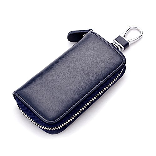 Daixers Leather Zip Pocket Key Organizer Case Car Key Holder with 6 Hooks (Six Hook Key Case)