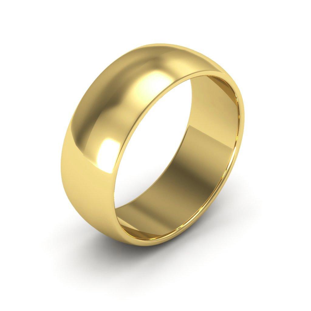14K Yellow Gold men's and women's plain wedding bands 7mm half round, 12.5