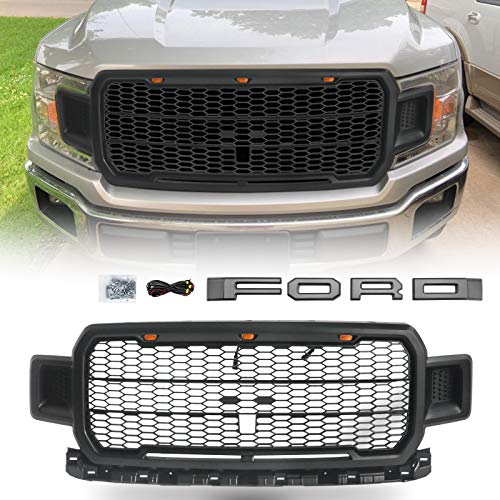 Modifying Front Grille Matte Black Fits 2018 2019 FORD F150 Rapter Style Grill Kits with 3 Amber LED Lights, Wiring Harness, Grey Letters(This Grille Works with the Factory Front Camera) (2018 Ford F150 Grill Emblem)