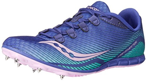 Saucony Women's Vendetta Spike Shoe, Blue/Teal/Pink, 10.5 M US by Saucony