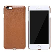 JUNCHI iPhone 6/6S Plus Wireless Charging Case,Texture Leather Classic Qi Standard Wireless Charging Receiver Leather Case for iPhone 6/6S Plus (Brown)