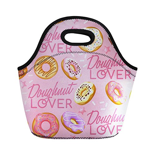 Sannovo Doughnut Insulated Food Lunch Bag Tote Women Gourmet Cosmetic Handbag -