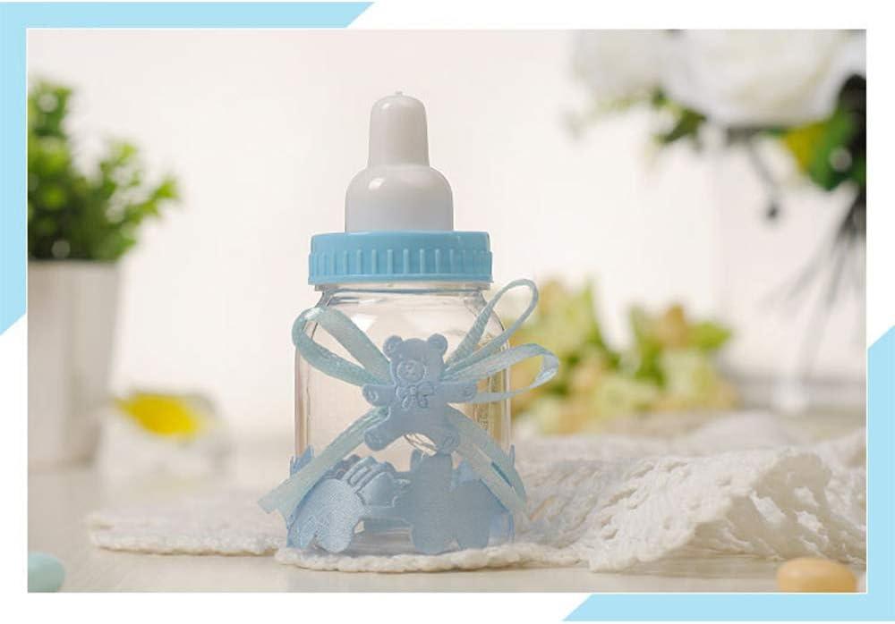 Azul MINGZE 24 piezas Biber/ón de Pl/ástico Mini Botella de Caramelo Caja de Regalo para Fiesta Caramelo Recuerdo de Bautizo Ducha Baby Shower Cumplea/ños Fiesta Beb/é Favorece Decoraciones