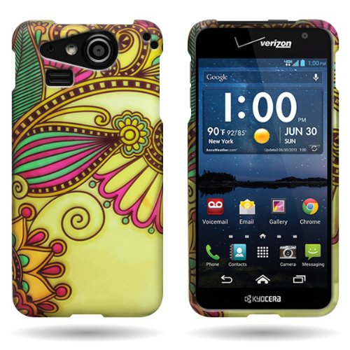 CoverON® Purple Green Antique Flower Hard Slim Case for Kyocera Hydro Elite - with Cover Removal Pry Tool