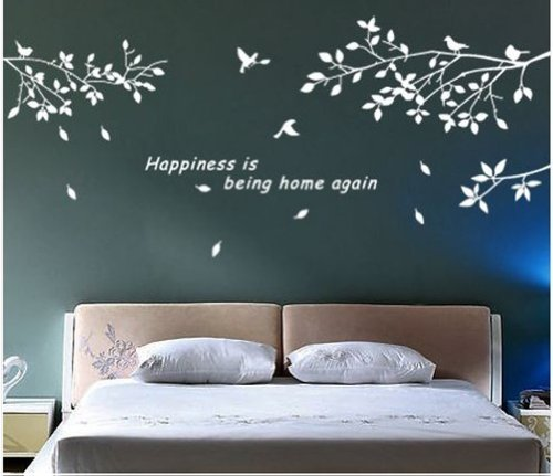 TRURENDI Trees Branches Birds White Wall Art Sticker Removable Vinyl Decal Mural Quote Home Decor DIY