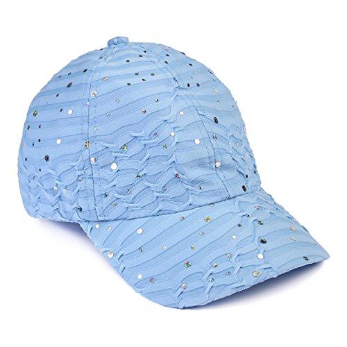 Casual Sparkly Sequin Glitter Baseball Hat - Adjustable Sun Visor Cap Embellished Fabric/Two-Tone Mesh Back (Light -
