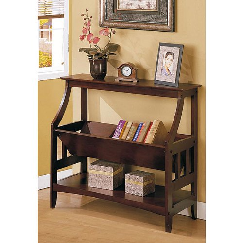 Ikcco Three-shelf Walnut Brown Solid Wood Bookshelf, Update your living  room, library or den with this unique solid wood bookshelf. With a creative  v-shaped ...