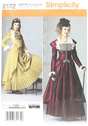 Simplicity Pattern 2172 Misses' Steampunk Costume by Theresa Laquey, Size R5 (14-22) -