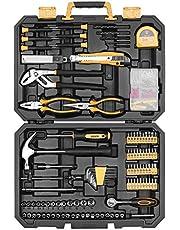DEKO 196 Piece Tool Set General Household Hand Tool Kit with Rip Claw Hammer,Lineman's Plier, Measure Tape Rule & Plastic Toolbox Storage Case