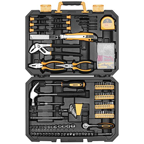 DEKOPRO 196 Piece Tool Set General Household Hand Tool Kit with Rip Claw Hammer,Lineman's Plier, Measure Tape Rule & Plastic Toolbox Storage Case