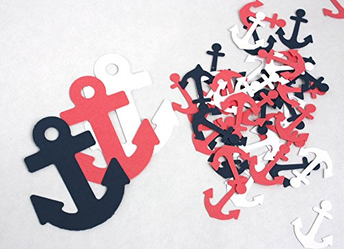 Coral Navy and White Anchor Confetti and Die Cut Party Decoration Set (125 CT)