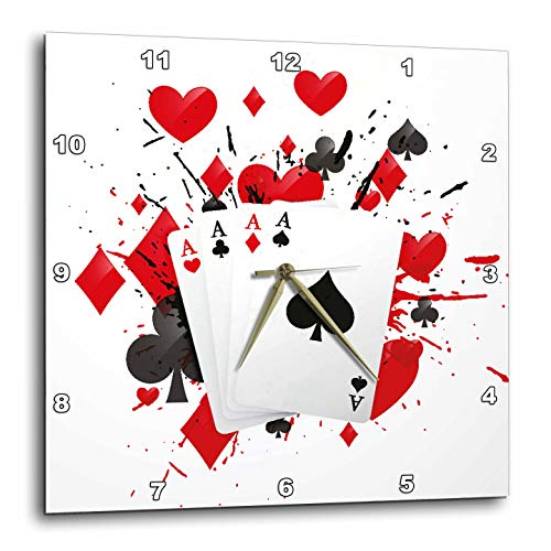 (3dRose Sven Herkenrath Game - Illustration of Playing Cards for Casino Game Play Win - 15x15 Wall Clock (DPP_294242_3))