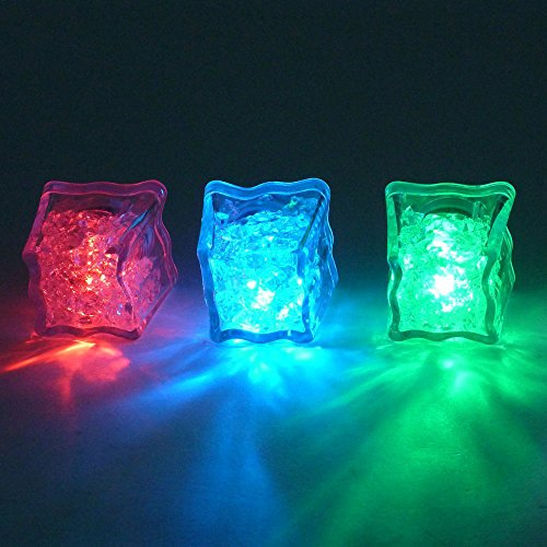 HoomDirect Liquid Activated LED Ice Cubes, Dr.Light Multicolor Flashing LED Light Up Ice Cubes,Wedding Party Champagne Tower Decoration, Flashing Light LED Glow Lighting for Drinking Wine (6 Pack)]()