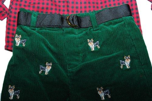 Ralph Lauren Polo Layette Boys Shirt Pant Set Yorke Dog Red Green 6M by Ralph Lauren (Image #2)