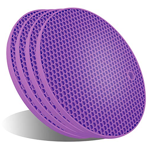 UXUNNY Silicone Pot Holders, Trivets for Hot Dishes - Thick Hot Pads for Kitchen, Heat Resistant Trivet Mats, Oven Pads, Hot Mats for Hot Pots and Pans - Christmas Decor (Purple, 4 PSC)