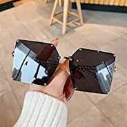 2021 Fashion Oversize Gradient Sunglasses for Women Vintage Alloy Chain Frame Rivet Square Sun Glasses Female