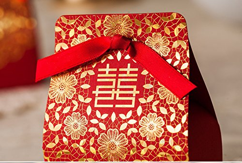50pc Double Happiness Design Chinese Red Candy Favor Box