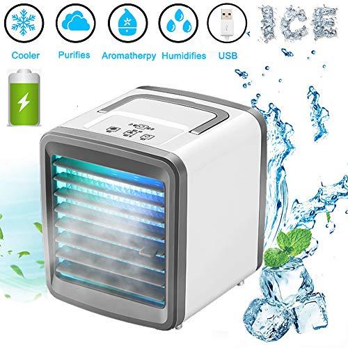 🥇 Lyeiaa 3 en 1 – Enfriador de aire portátil para refrigeración y humidificar ventilador multifunción para el hogar y la oficina