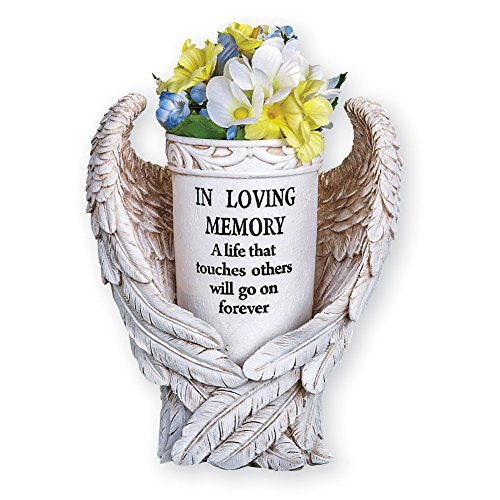 Collections Etc Angel Wings Memorial Vase Garden Décor Yard Stake - Sentimental Planter Decoration, Beige