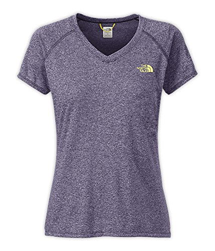 The North Face Women's S/S Reaxion Amp V-Neck Tee Ink Spot Blue Heather / Hamachi Yellow M